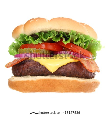 Bacon cheeseburger hamburger isolated on white. Fast food & barbecue collection. - stock photo