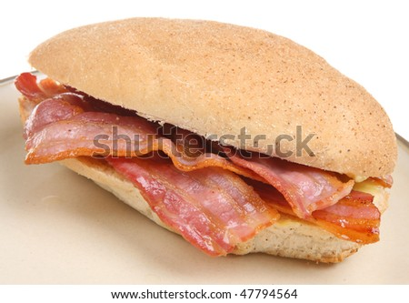 Bacon in a wholemeal bread roll