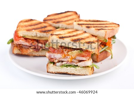 Bacon, lettuce and tomato BLT sandwiches - stock photo