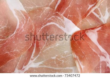 Bacon pieces in macro shot - stock photo