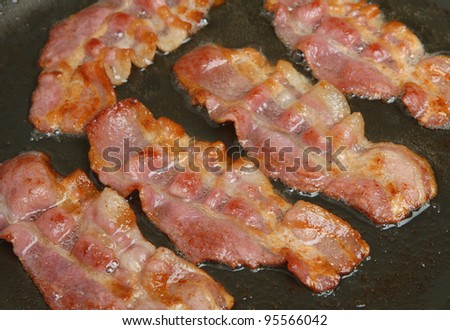 Bacon rashers frying in non-stick pan - stock photo