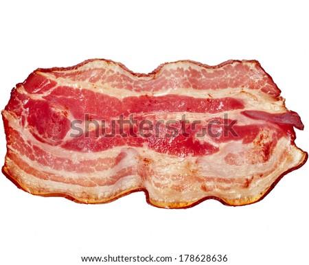 Bacon Single Slice isolated On White Background  - stock photo
