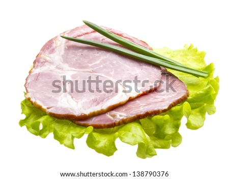 Bacon with salad leaves