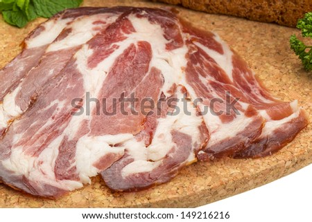 Bacon with vegetables and bread