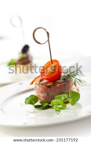 Bacon Wrapped Beef with Cherry Tomato