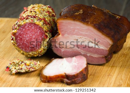 Bacon wrapped pork with pepper - stock photo
