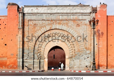 Bad Agnaou door, Marrakesh. - stock photo