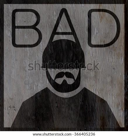 bad biker on wood grain texture - stock photo