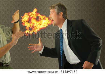 Bad breath chronic halitosis humor with a man breathing fire on someone as he goes to shake hands. Perfect for breath products, mouthwash, social etiquette, dentistry, and health related campaigns. - stock photo