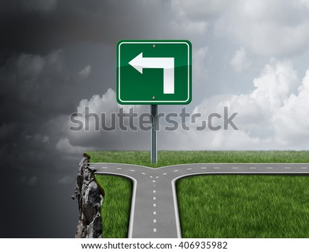 Bad business advice concept as a path with a 3D illustration fork in the road falsely guiding off a cliff as a metaphor for incompetent fraudulent financial consultation or mismanagement direction. - stock photo