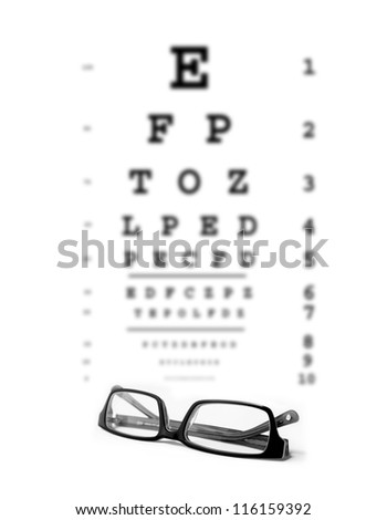 Bad eyesight concept photo. Glasses with eye test chart in the background. - stock photo
