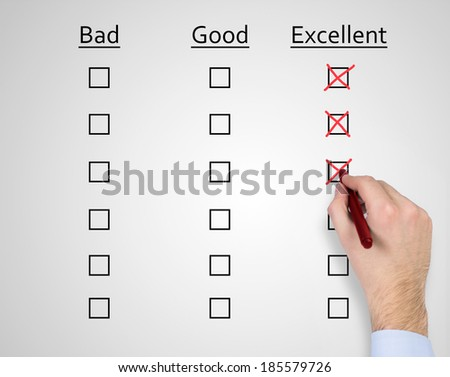 bad, good and excellent boxes. - stock photo