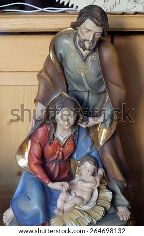 BAD ISCHL, AUSTRIA - DECEMBER 14: Nativity scene, creche, or crib, is a depiction of the birth of Jesus, Bad Ischl, Austria on December 14, 2014. - stock photo