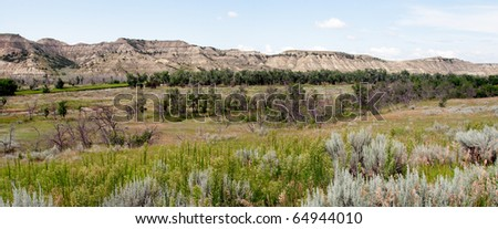 Bad Lands at  Theodore Roosevelt National Park, North Dakota - stock photo