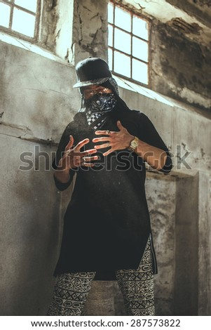 Bad male gangster in mask.  - stock photo