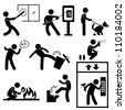 Bad Morale People Vandalism Gangster Icon Symbol Sign Pictogram - stock photo