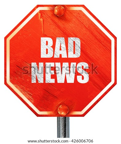 bad news, 3D rendering, a red stop sign
