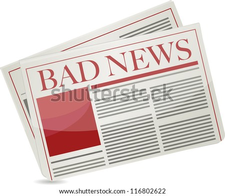bad news newspaper illustration design over white background
