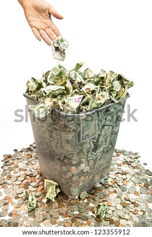 Bad purchases, band investments, bad loans, it all amounts to throwing away your money. - stock photo