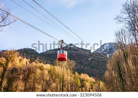 mountain zipline through autumn forest on stock photo 485880667 shutterstock. Black Bedroom Furniture Sets. Home Design Ideas
