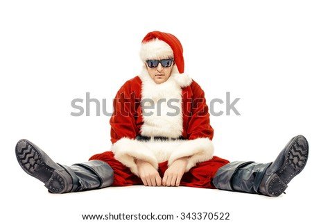 Bad Santa Claus. Isolated over white background. Christmas party, disco. - stock photo