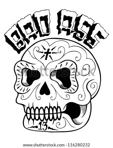 bad sugar skull image - stock photo