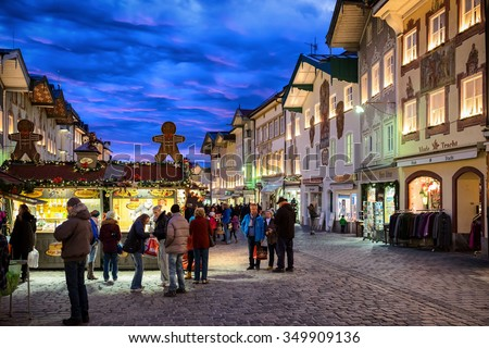 BAD TOELZ, GERMANY - DECEMBER 22: people at the famous christmas market on December 22, 2014 in Bad Toelz, Germany - stock photo