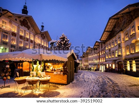 BAD TOELZ, GERMANY - DECEMBER 30: people at the famous christmas market on December 30, 2014 in Bad Toelz, Germany - stock photo