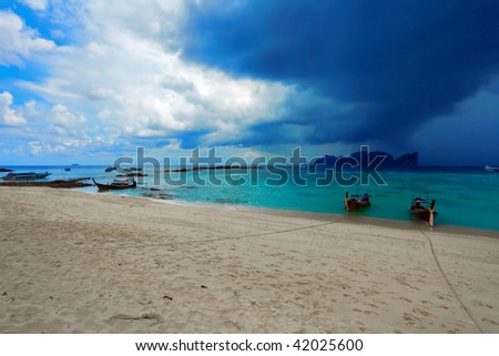 Bad weather around tropical island. Phi Phi island. Thailand - stock photo