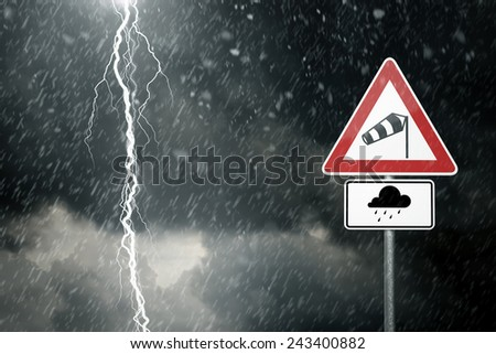 Bad Weather - Caution - Risk of Storm and Thunderstorms - stock photo