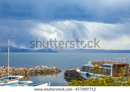 Bad weather coming at Lake Titicaca in Peru - stock photo