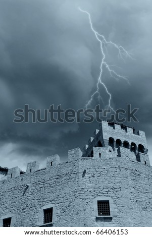 bad weather over the tower - stock photo