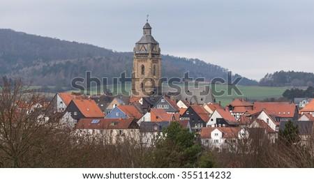 bad Wildungen historic city panorama - stock photo