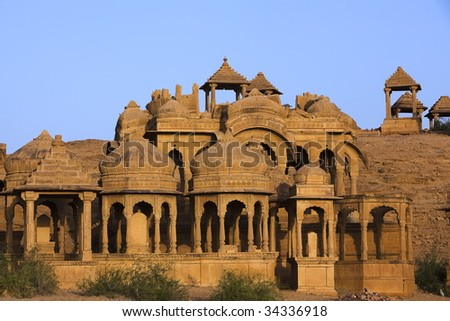 Bada Bagh Cenotaph jaisalmer in rajasthan state in india - stock photo