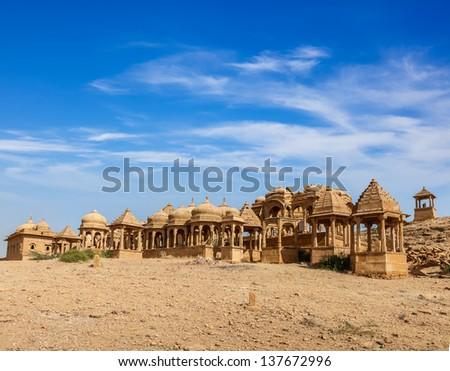 Bada Bagh cenotaph, Jaisalmer, Rajasthan, India - stock photo