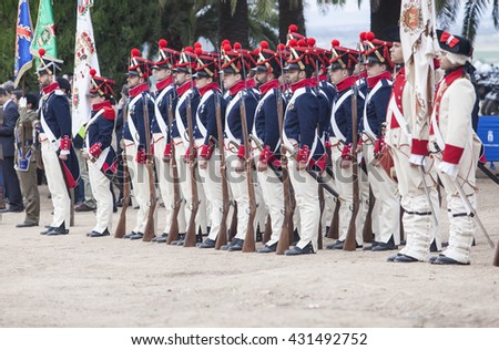 Badajoz, Spain - May 25, 2016: spanish troops during the Armed forces day. 6th Infantry Regiment Saboya period dressed