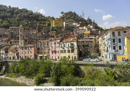 Badalucco, Italy - July 21, 2015: Street view of old town Badalucco in the Province of Imperia in the Italian region Liguria.