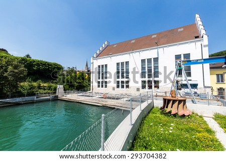 BADEN, AARGAU, SWITZERLAND - JULY 2: Exterior view of  the hydroelectric power station of Baden and the river Limmat on July 2, 2015. Baden is a municipality in the Swiss canton of Aargau.
