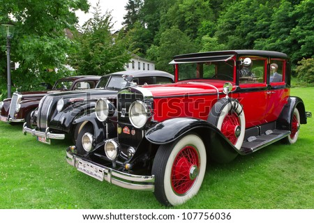 "BADEN-BADEN, GERMANY  JULY 13:  ROLLS-ROYCE PHANTOM (1934)  at The International Exhibition of old cars ""Internationales Oldtimer-Meeting Baden-Baden"" on July 13, 2012 in Baden-Baden, Germany. - stock photo"