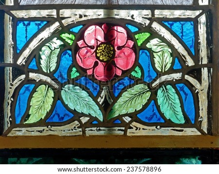 BADEN BEI WIEN, AUSTRIA - 14 DECEMBER 2014: A stained-glass window of the Cholerakapelle, which was donated after a cholera outbreak in the 19th century. The chapel is currently being renovated.  - stock photo