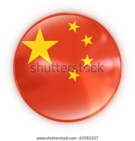 badge- Chinese flag - stock photo