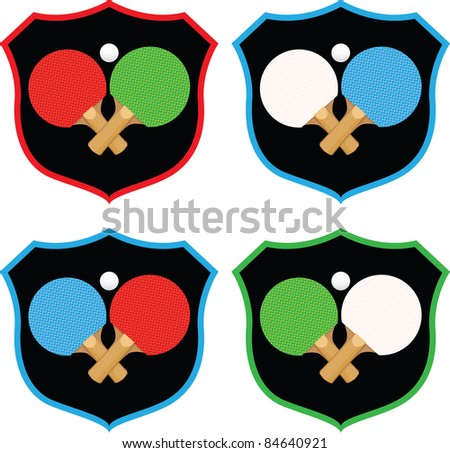 Badge emblems featuring ping pong equipment in a variety of colors. - stock photo
