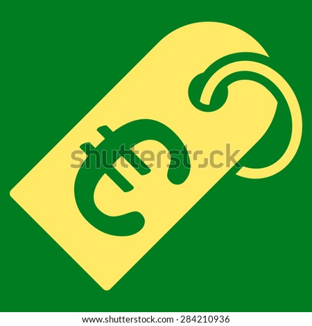 Badge from BiColor Euro Banking Icon Set. Glyph style: flat, yellow symbol, rounded angles, green background. - stock photo