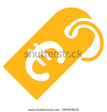 Badge from BiColor Euro Banking Icon Set. Glyph style: flat, yellow symbol, rounded angles, white background. - stock photo
