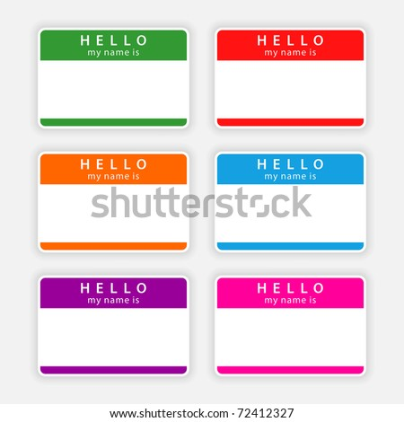 Badge name tag HELLO my name is. Colorful blank label with shadow on gray. Bitmap copy my vector ID: 55867132