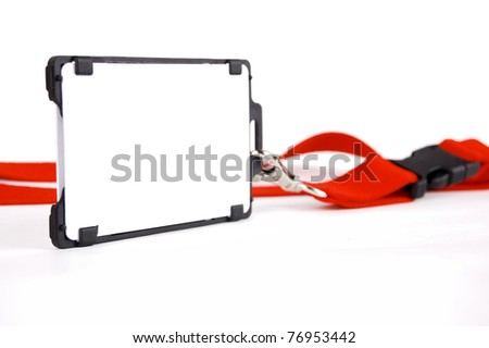 badge with a red ribbon on a white background - stock photo