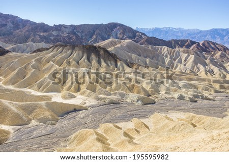 Badlands formations at Zabriskie Point in Death Valley National Park, California