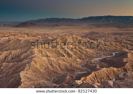 Badlands from Font point in Anza-Borrego desert state park at sunset, California - stock photo