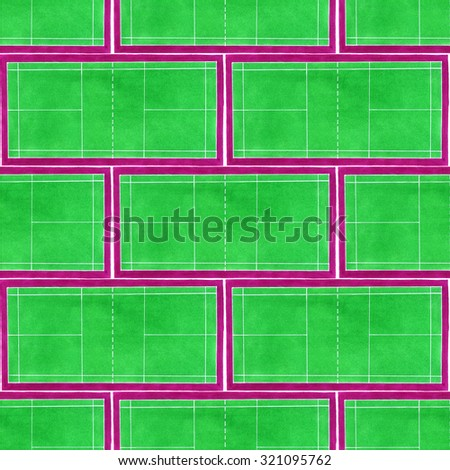 Badminton court. Seamless pattern with hand-drawn green tennis courts on the white background. Real watercolor drawing - stock photo