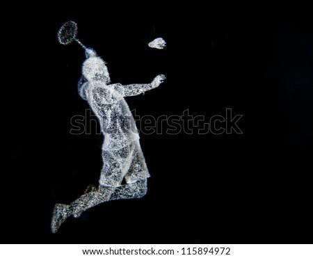 badminton jump smash - stock photo